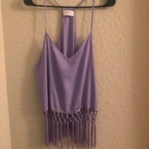Lilac Fringe Top